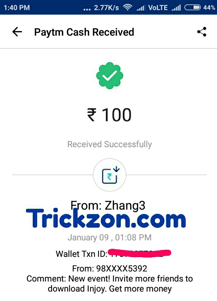 Injoy app refer and earn 100 rupee paytm cash