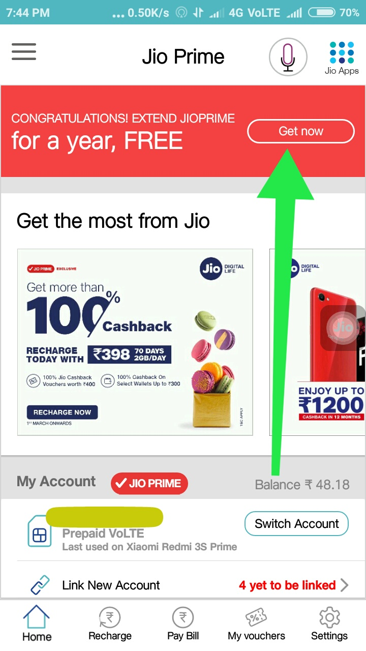 How to Get Option to extend Jioprime Service For one year